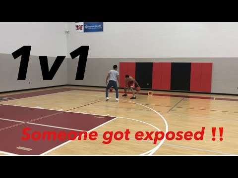 1v1 IRL BASKETBALL AGAINST 6'4 D1 BASKETBALL PLAYER !! ** CRAZY ENDING **