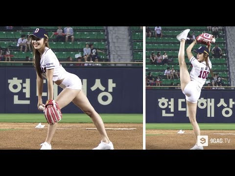 Korean Girl Throws The Hottest First Pitch For Baseball Game