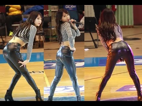 Sexy Korean girl dancing in shiny leather trousers